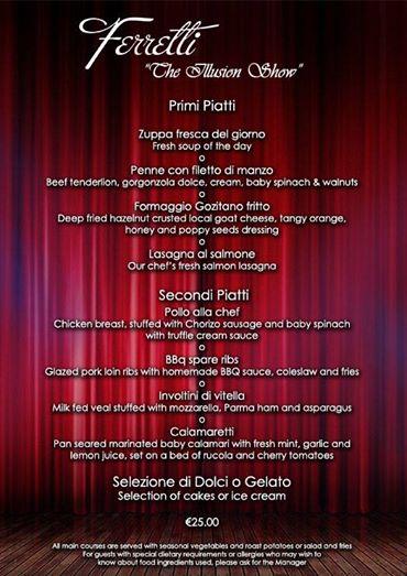 Ferretti The Illusion Show Menu