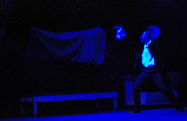 The Phantom Act.Brian Levitates Lola. From the show The Ghost of De Vilhena at Manoel Theatre, Valletta Malta 2009. Photo Ivan Pierre Vella