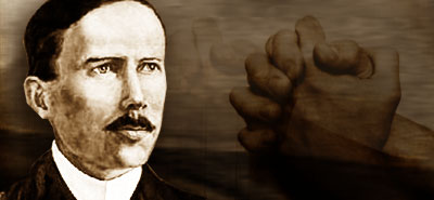portrait of john hyde and praying hands as a representative of these missionaries who had bold prayers for missions