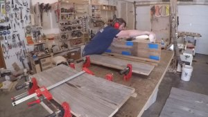 gluing barnwood together