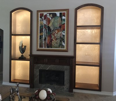 Arched top built in bookshelf