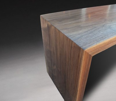 mitered modern waterfall bench