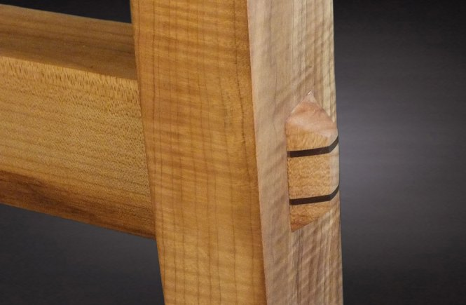 Through mission style woodworking tenon wedged with walnut