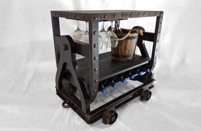 miners bar cart, wine rack