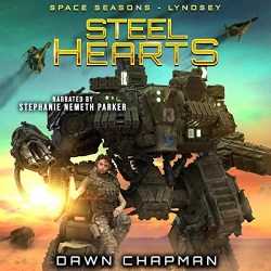 Steel Hearts: Lyndsey Audiobook Cover (A mech standing tall with a girl sitting on one of the mechs legs)