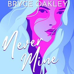 Never Mine Audiobook Cover - an artistic photo of a girl with blue hair - her skin is purplish hued