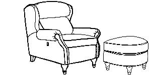 932 Tiltback chair & ottoman