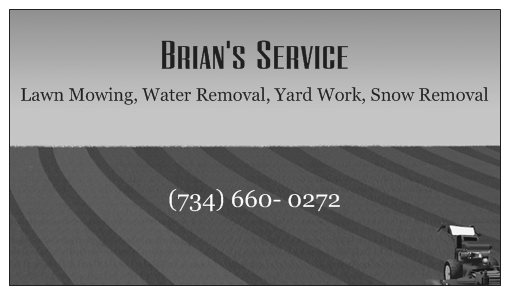 Back of Business Card Brians Service