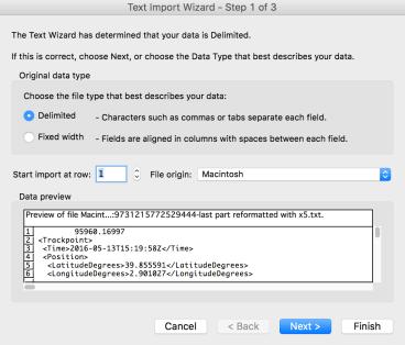 Excel import dialog #1
