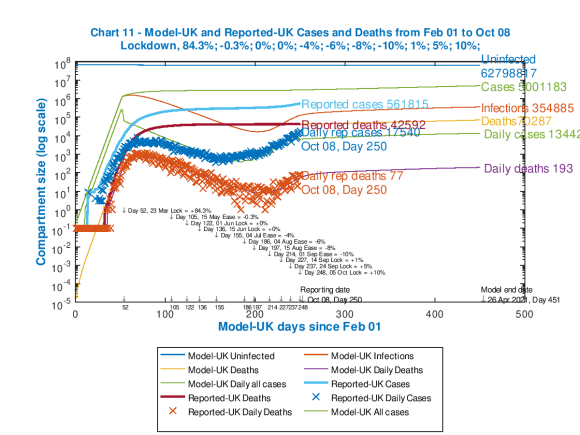 Chart 11 showing both cumulative and daily UK model and reported deaths and cases