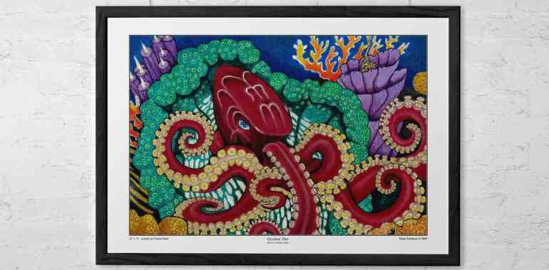Raffle to win a signed, matted and framed Octopus Den print at the upcoming art show and signing on Saturday, June 14 at Ripple in Roanoke, VA!