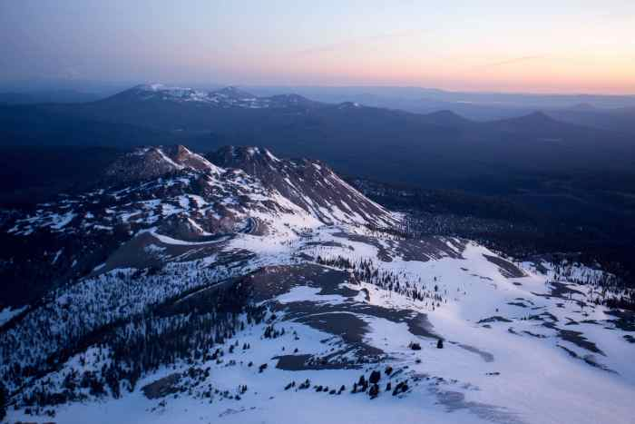 View from 10,000 ft on Lassen Peak. Shasta in the upper left and Chaos Craigs in center.