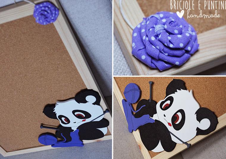lavagna di sughero con panda fatta a mano