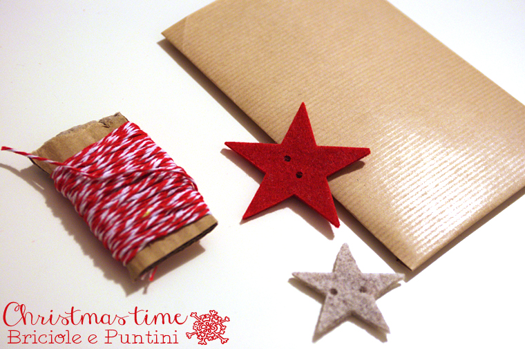 packaging di Natale con stelle in feltro