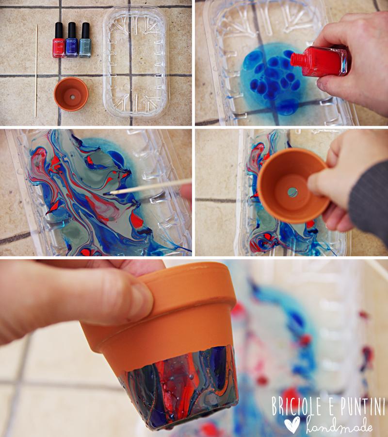 vasetti marmorizzati con gli smalti per unghie