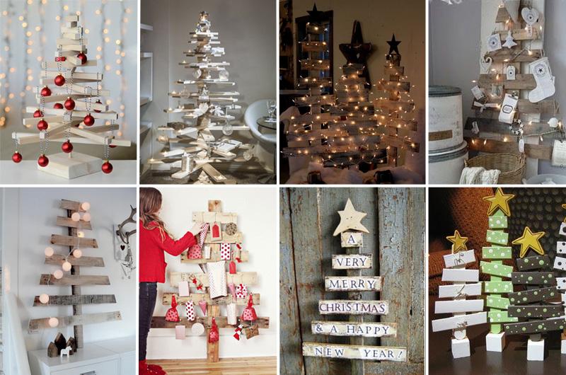 alberi di Natale con listelli in legno