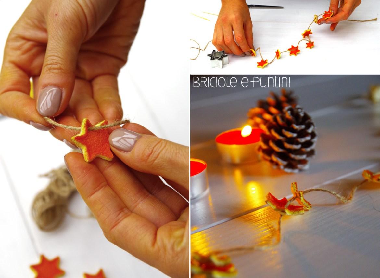 collana di Natale con scorze di arancia essiccate