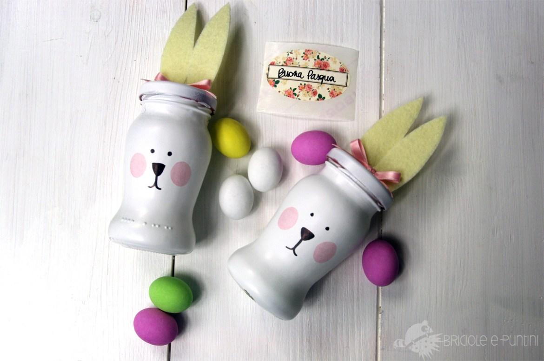 coniglietti di Pasqua con riciclo creativo dei barattoli di vetro Althea Sughi