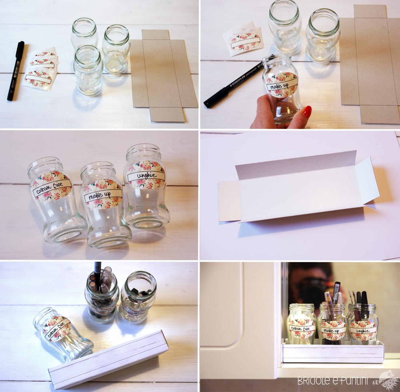 Wondervasetto riciclo creativo barattoli di vetro organizer bagno fai da te briciole e puntini - Cucito creativo bagno ...