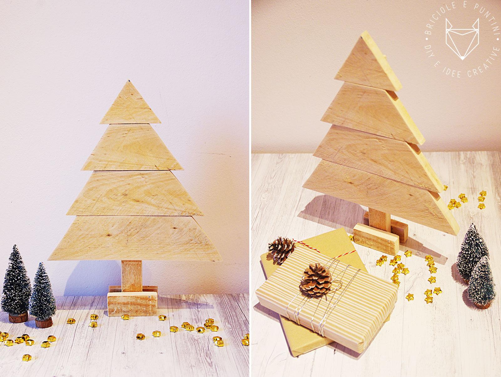 Albero Di Natale Legno Fai Da Te.Albero Di Natale In Legno Con I Pallet Riciclati Briciole E Puntini