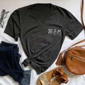 heathered grey v-neck t-shirt