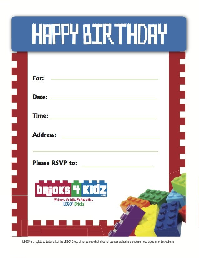 BRICKS 4 KIDZ Best LEGO Birthday Invite 6 Bricks 4 Kidz