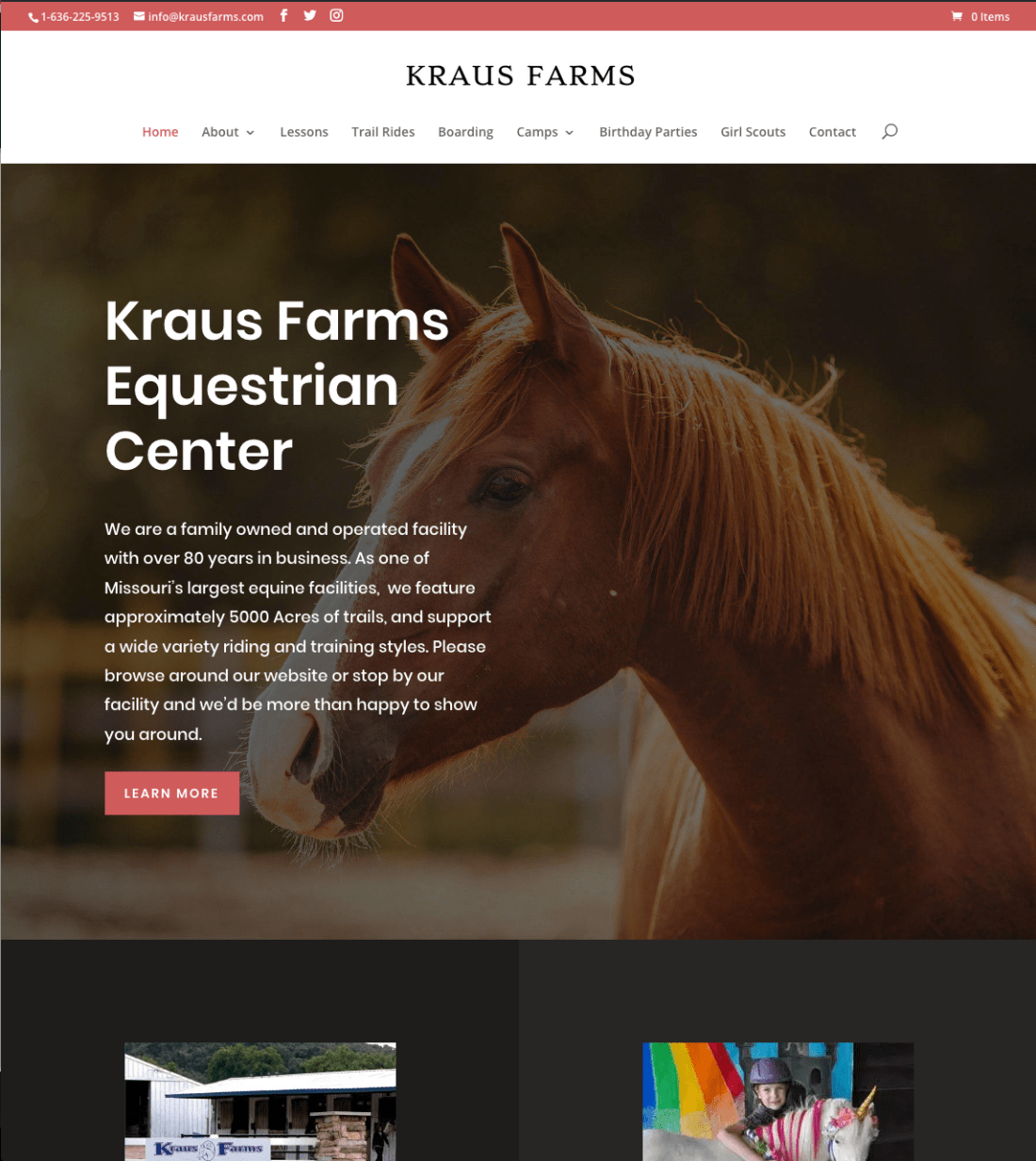 Kraus Farms Equestrian Center Website