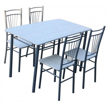 Una vasta selezione di prodotti ai migliori prezzi. Tavolo In Acciaio 120x70 Con 4 Sedie Bianco E Beige Brico Casa