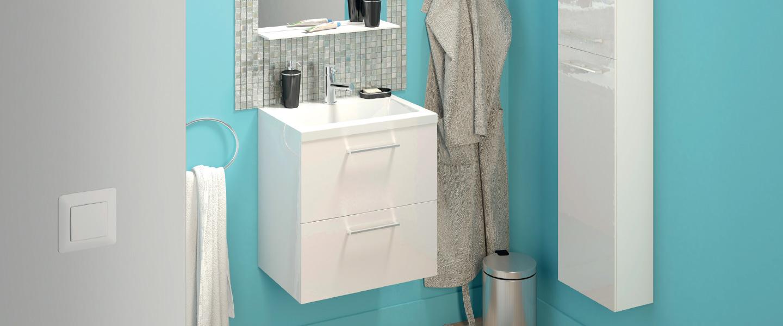L Ensemble Slim L 50 Cm Meuble Vasque Miroir Eclairage Led L 50 Cm