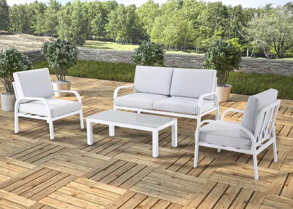 salon de jardin aluminium gioura blanc