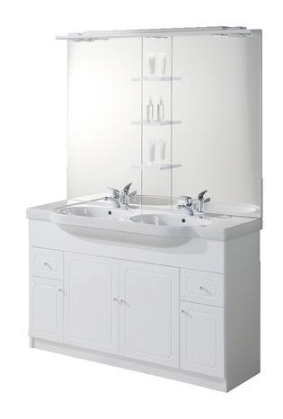 Plan De Toilette Double Vasque En Ceramique L 130 X L 47 8 X H 19