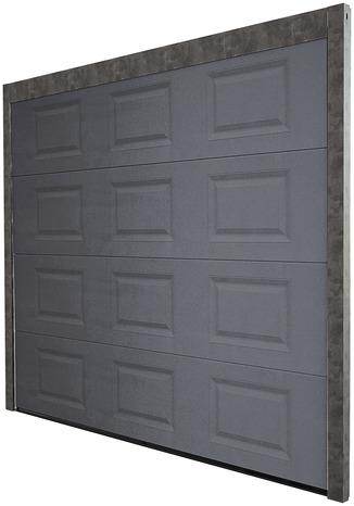 porte de garage sectionnelle motorisee en acier h 200 cm l 300 cm grise brico depot
