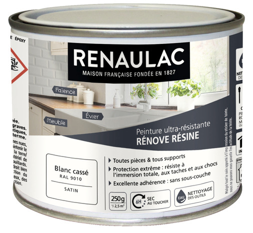 peinture renove resine 0 25 l 0 25 l blanc casse renaulac