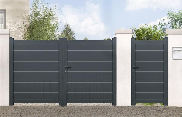 portail aluminium battant gris
