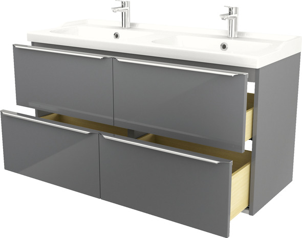 Plan Double Vasques A Encastrer En Ceramique Nira L 120 X H 12 X P 45 Cm Brico Depot