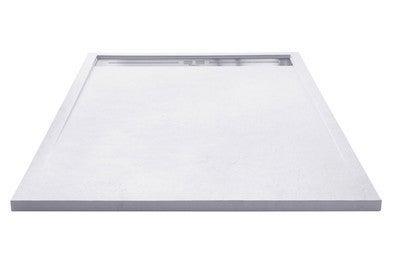 receveur de douche extra plat a poser ou a encastrer ecoulement caniveau en resine blanc l 120 x l 90 cm