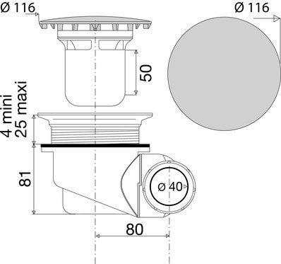 bonde de douche la goulue multidirectionnelle capot abs pour receveur o 90 mm