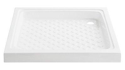 receveur de douche a poser ecoulement decentre en gres blanc l 80 x l 80 cm square