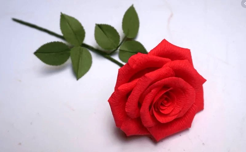 rosa de papel crepe