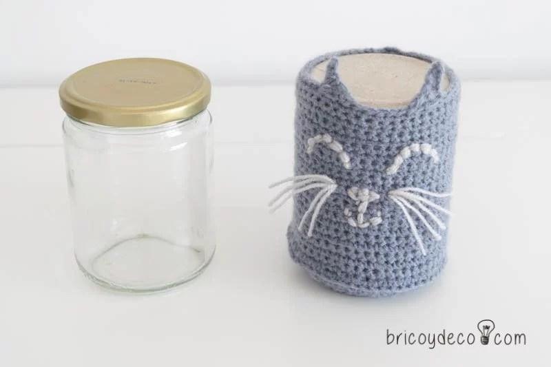 funda de crochet para tarros de vidrio
