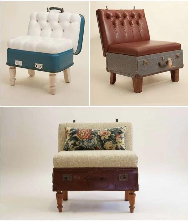 decorar con maletas y reciclar en sillas