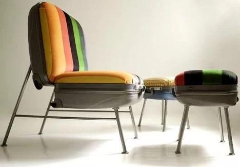 decorar con maletas y reciclar como sillas
