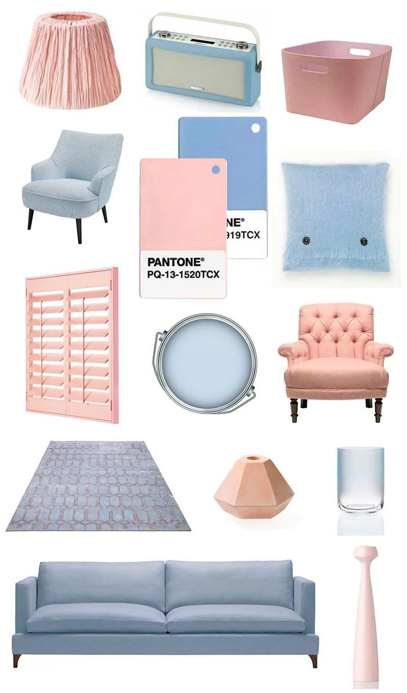 decorar con rosa cuarzo y azul serenety