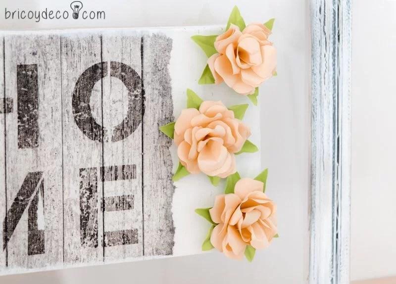 cómo hacer un marco con rosas de papel