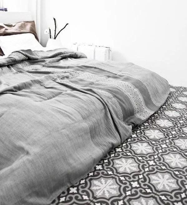 decorar con baldosas hidráulicas el dormitorio
