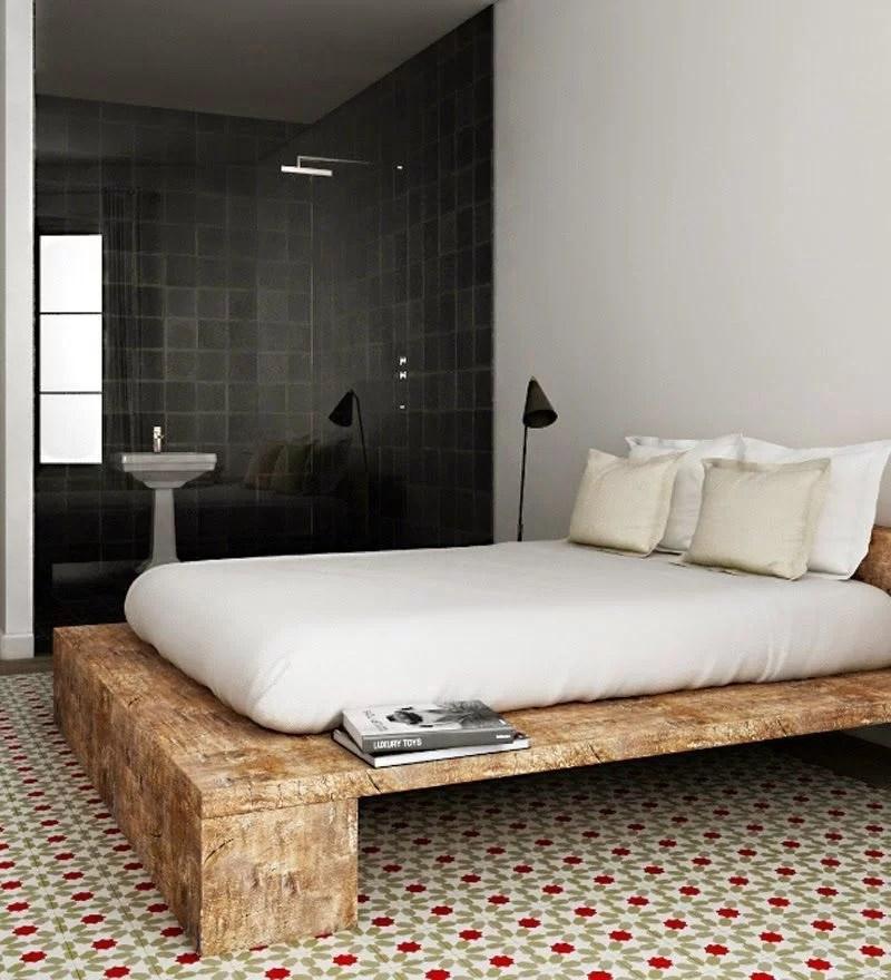decorar con baldosas hidráulicas en el dormitorio