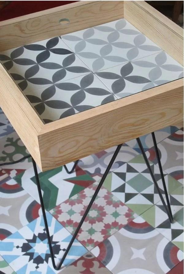 ideas para decorar muebles con baldosas hidráulicas