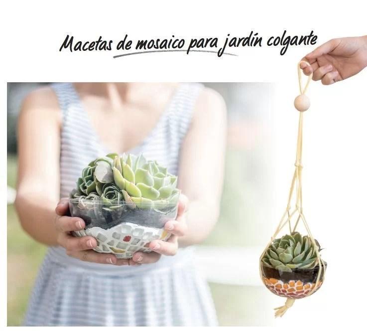 portamacetas de mosaico para jardín colgante
