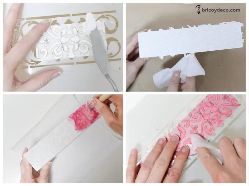 reciclar una caja de madera con plantillas de stencil y pasta relieve