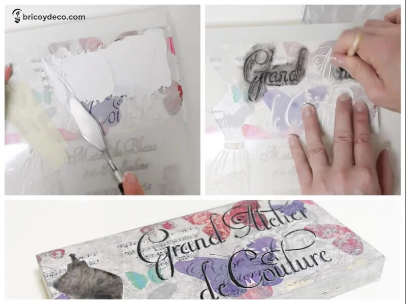 decoupage decorado con letras en relieve